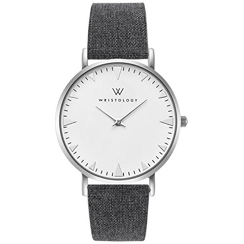 WRISTOLOGY Stella - 5 Options - Womens Watch Silver Boyfriend Ladies Grey Tweed Leather Strap Band (Best Bands From New Jersey)