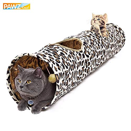 Cat Play Tunnel 128cm Luxury Dia 30CM Funny Suede Material Cat Long Tunnel Big Cat Toy Pompon Ball Collapsible Bulk Pet Supplies