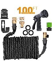 AIGUMI Expandable Garden Hose 100Ft/30M Expanding Garden Hose Pipe with Brass Connectors, 8 Function Spray, Flexible Anti-Kink for Home, Garden, Patio and Car cleaning - 1 Year Replacement Warranty