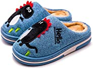 Cute Girls Home Slippers Fuzzy Fur Lined Winter Boys House Slippers Non Slip Kids Warm Indoor Shoes