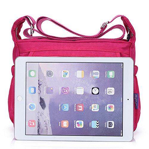 Outreo Bolsos Mujer Bolso Bandolera Ligero Moda Casual Escolares Bolsas de Viaje Impermeable Bolsos Escuela para Tablet Sport Bag Rojo 1