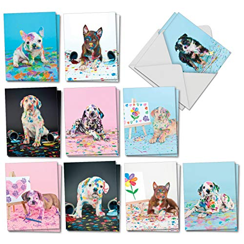 Dirty Dogs: 20 Assorted Blank All Occasions Notecards Featuring Messy Mutts Covered from Ears To Paws, with Envelopes. AM7217OCB-B2x10 Boxer Dog Note Card