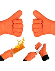 ... HOMILY Heat Resistant Gloves Wrist Protection Quilted Cotton Lining,  Non Slip Kitchen Gloves For Cooking, Baking, BBQ Grilling, 1 Pair (2 X  Orange Mitt)
