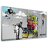"""Alonline Art - Girl Balloon Robbo Unique Collage Banksy FRAMED STRETCHED CANVAS (100% Cotton) Gallery Wrapped - READY TO HANG   39""""x22"""" - 98x56cm   For Living Room Frame Framed Wall Decor Giclee"""