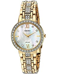 Seiko Womens Ladies Crystal Dress Quartz Stainless Steel Casual Watch, Color:Gold-Toned (Model: SUP364)