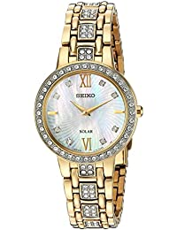 Womens Ladies Crystal Dress Quartz Stainless Steel Casual Watch, Color:Gold-