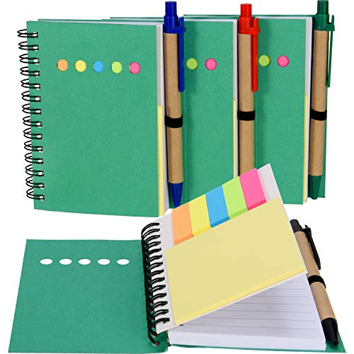 - Maxdot 4 Pieces Kraft Paper Steno Pocket Business Notebook Spiral Lined Notepad Set with Pen in Holder, Sticky Colored Notes Page Marker Tabs (Green Cover)