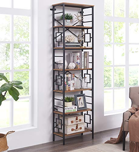 Homissue Industrial Open Bookcase, 7-Tier Tall Bookshelf Storage Display Rack for Home Office, Rustic Brown