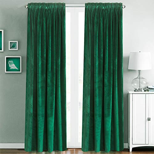 Diy Rods Curtain (Blackout Velvet Curtains Rod Pocket Drapes Dark Green 96 inch Thermal Insulated for Bedroom 2 Panels (W50'' x L96'', Dark Green))