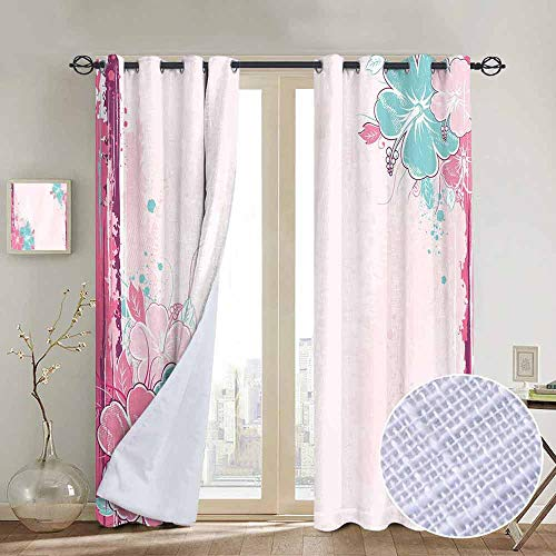 - NUOMANAN Room Darkening Wide Curtains Flower,Bouquet of Hibiscus Florets Watercolor Elegance Beauty Artwork,Light Pink Fuchsia Turquoise,Light Blocking Drapes with Liner 84
