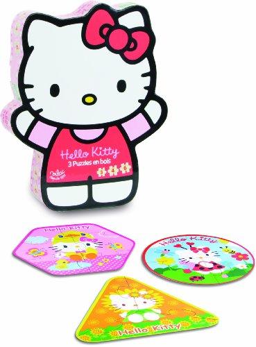 Vilac - 4800 - 3 Puzzle En Bois - Hello Kitty - Boîte de 6 Pièces