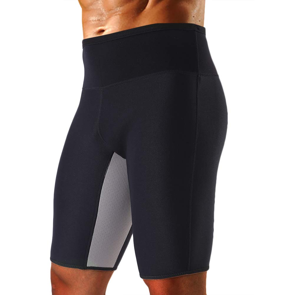 Cimkiz Men's Sauna Sweat Slimming Shorts Neoprene Exercise Pants for Workout Sweat Body Shaper Size L