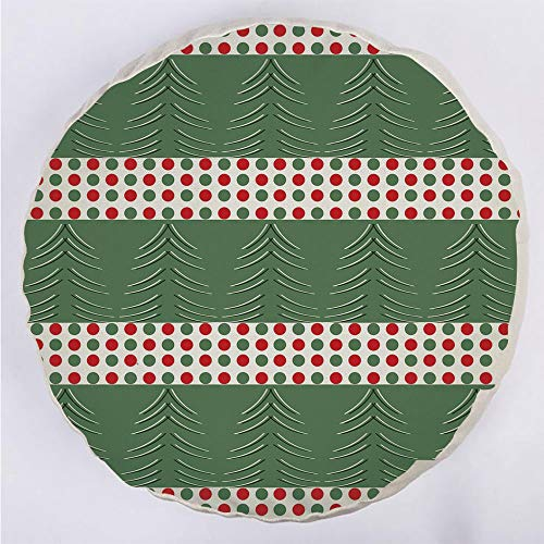 Round Decorative Throw Pillow Floor Meditation Cushion Seating/Pine Tree Design with Curved Lines Chevrons Vibrant Polka Dots Decorative/for Home Decoration 17