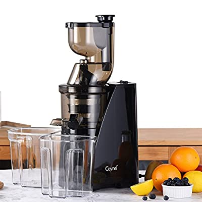 "Caynel Whole Slow Masticating Cold Press Juicer Extractor Quiet Durable Motor, 3"" Big Mouth Wide Chute with Juice Jug, Brush and Extra Juice Bottle, Easy Cleaning Vertical Juicer Machine BPA Free"