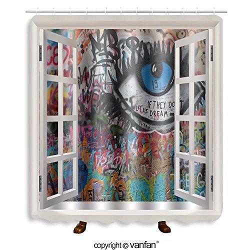 Vanfan designed Windows 138037016 PRAGUE, CZECH REPUBLIC - APRIL 23The Lennon Wall s Shower Curtains,Waterproof Mildew-Resistant Fabric Shower Curtain For Bathroom Decoration Decor With Shower - Ideas Costume John Lennon
