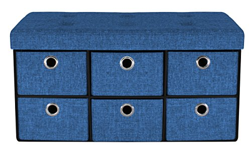 Sorbus Storage Bench Chest with Drawers – Collapsible Folding Bench Ottoman includes Cover – Perfect for Entryway, Bedroom Bench, Cubby Drawer Footstool, Hope Chest, Contemporary Faux Linen (Blue) - Bench Organizer