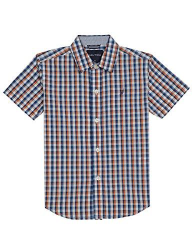 - Nautica Boys' Little' Short Sleeve Plaid Woven Shirt, Firework, 7