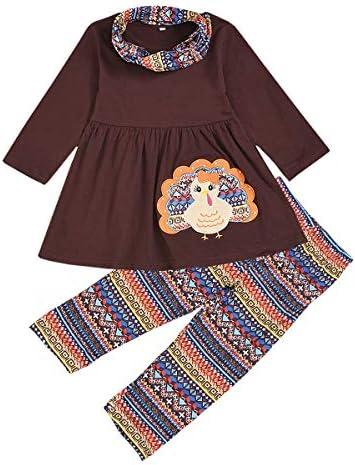 3Pcs Kids Baby Girls Halloween//Thanksgiving Clothes Pumpkin//Turkey T-Shirt Top Dress+Pants+Headband Outfit Set Winter