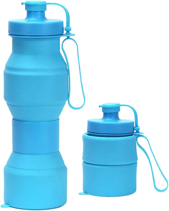 Collapsible Water Bottle Silicone Foldable Water Bottles Travel & Outdoor Sports Water Bottle for Running Hiking Cycling Gym