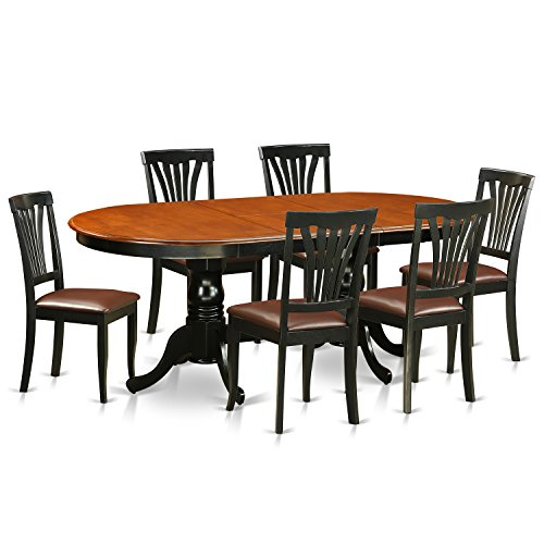 East West Furniture PLAV7-BCH-LC 7 Piece Dining Table with 6 Wooden Chairs Set