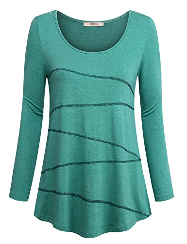 Hong Technology Womens Casual Yoga Tops Pullover Long Sleeve Loose Fitting Tunic Shirts