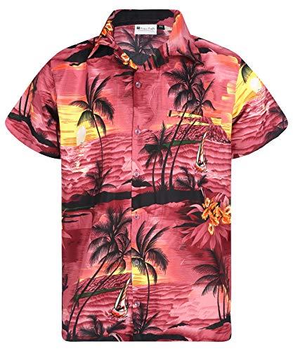 Virgin Crafts Boys Hawaiian Shirt Short Sleeve Front Pocket Women Surf Wine S ()