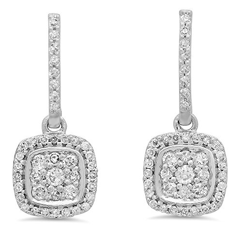 Dangle Fancy Diamond (0.40 Carat (ctw) 14K White Gold Round White Diamond Ladies Cluster Style Dangling Earrings)