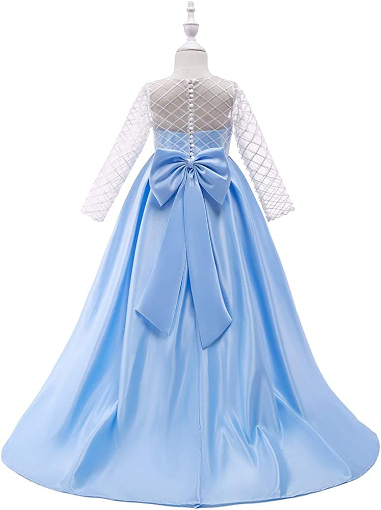 MEOILCE Girl Maxi Dress Floor Length Long Sleeve Wedding Dress Pageant Party Formal Dance Evening Gown for Kids