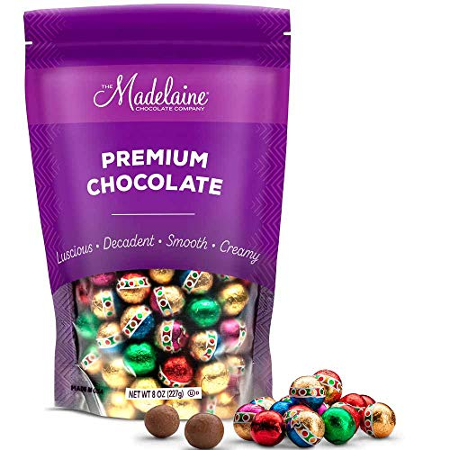 Madelaine Solid Premium Milk Chocolate Christmas Ornament Balls (1/2 LB) Holiday Chocolate Candy Individually Wrapped In Reminiscent Of Miniature Ornaments Italian Foils.