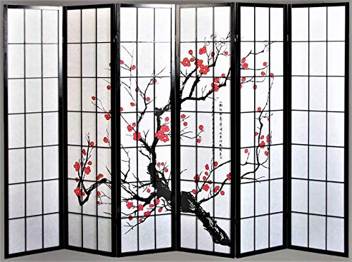 Panel Black Finish Wooden Screen - Legacy Decor 6 Panel Plum Blossom Screen Room Divider