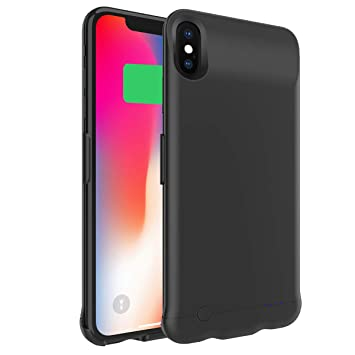 Happon Funda Bateria iPhone XS MAX, 6200mAh Batería Cargador Externa Ultra Carcasa Batería Recargable Power Bank Portatil para iPhone XS MAX - Negro