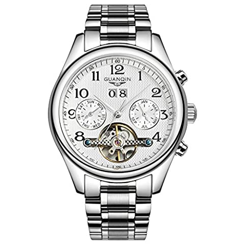 Swiss Brand GUANQIN Tourbillon Watches Classic Sapphire Waterproof Watches Men Automatic Mechanical Wind Up Wrist Watches (White Dial White (Swiss Mechanical Automatic)