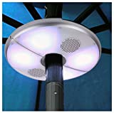 ISHOW Store Patio LED Umbrella Light with Bluetooth Speaker Cordless 48 LED Lights Color Changing USB Rechargeable Power Bank Function for Garden Patio Beach Camping