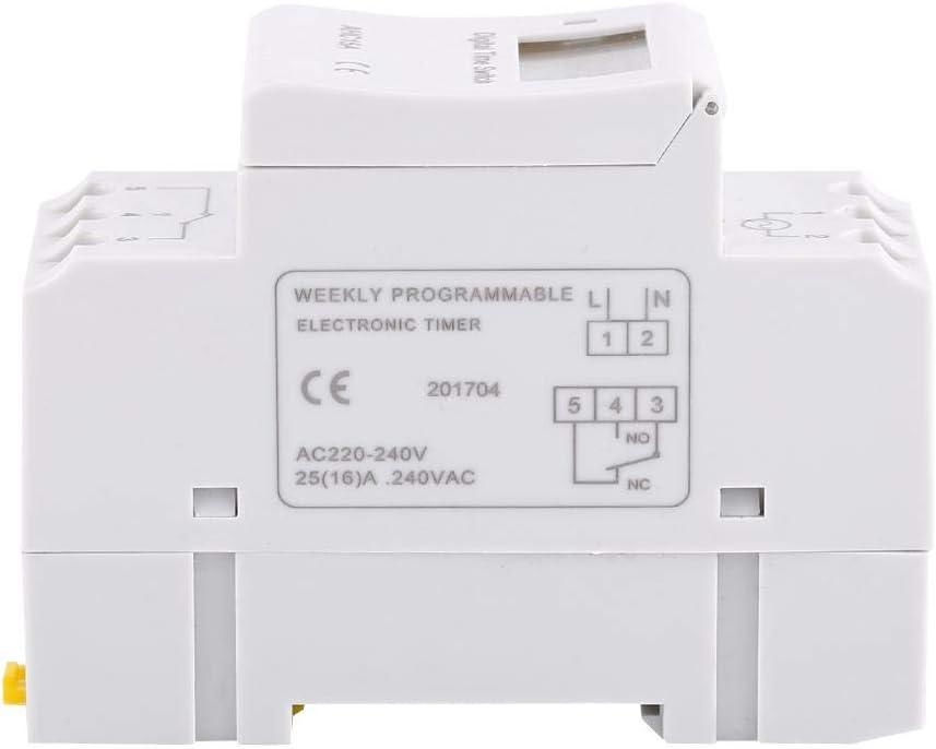 MAGT Minuterie Num/érique 1pc Affichage LCD Hebdomadaire Programmable Relais /Électronique Relais Interrupteur 16on 16off Minuterie 24V
