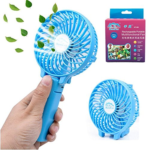Mini Fan Battery Operated, Kingcenton Handheld Portable Foldable 4 Inch Fan with Clip for Baby Stroller - 2000mAh Rechargeable Battery, 3 Speeds Adjustable for Home, Office, BBQ and Travel (Blue Sky)