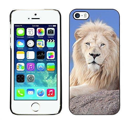 Premio Sottile Slim Cassa Custodia Case Cover Shell // V00001736 Lion blanc // Apple iPhone 5 5S 5G
