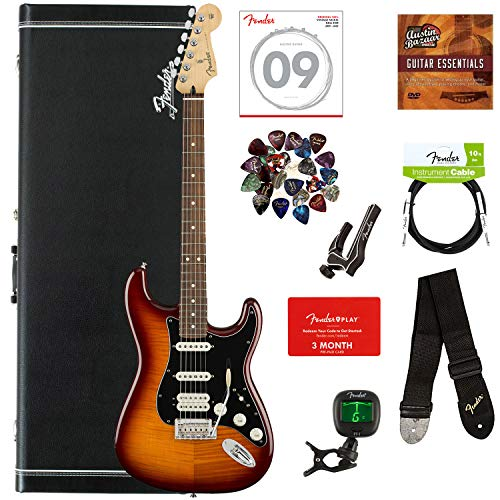 Fender Player Stratocaster HSS Plus Top, Pau Ferro - Tobacco Sunburst Bundle with Hard Case, Cable, Tuner, Strap, Strings, Picks, Capo, Fender Play Lessons, and Austin Bazaar Instructional DVD