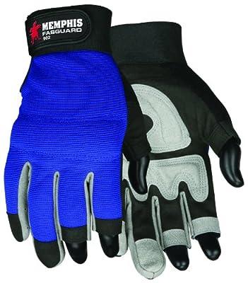 MCR Safety 902M Fasguard Synthetic Leather 3 Fingerless Design Multi-Task Gloves with Adjustable Wrist Closure, Blue/Black, Medium, 1-Pair