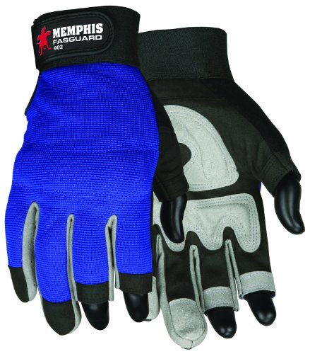 Synthetic Leather Palm Gloves (MCR Safety 902M Fasguard Synthetic Leather 3 Fingerless Design Multi-Task Gloves with Adjustable Wrist Closure, Blue/Black, Medium, 1-Pair)