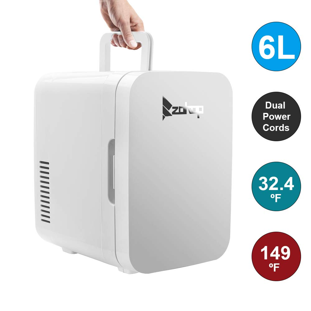 Camping Fridge 26.4 Quart/27L,Mini Refrigerator Electric Cooler and Warmer for Car and house with Dual 12V DC & 110V AC Thermoelectric System Portable Fridge for Travel, Camping and Picnic (6L-White)