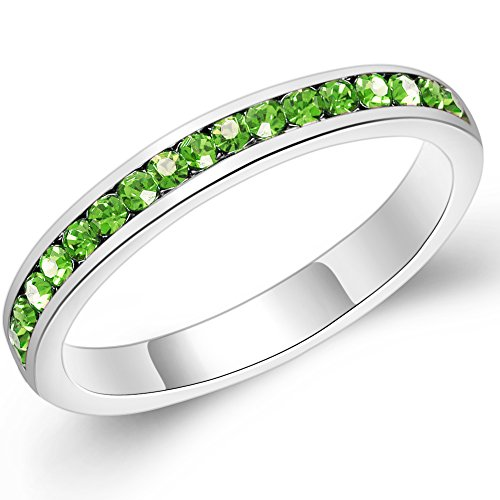 3mm Stackable Plating Silver Eternity Band Ring w/ Colored Crystals Peridot Birthstones