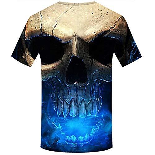Allywit Skull T Shirt Skeleton T-Shirt Gun Tshirt Gothic Shirts Punk Tee 3D t-Shirt Anime Male Styles Blue by Allywit-Mens (Image #1)