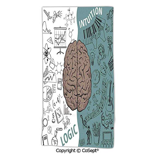 (PUTIEN No Fading Multipurpose Use Bath Towel,Brain Image with Left and Right Side Music Logic Art Side Science Print,Made with 100% MicrofiberWhite Teal Umber)