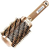 round Upgrade BIBTIM Round Hair Brush Twill with Boar Bristle for Blow Drying, Curling & Straightening, Professional Salon Styling Brush, Nano Technology Ceramic for Perfect Volume & Shine (2 inch)