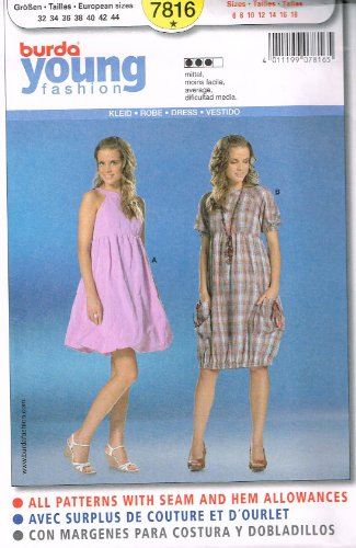 Burda Young Fashion Dress Sewing Pattern 7816 in Sizes 6  18