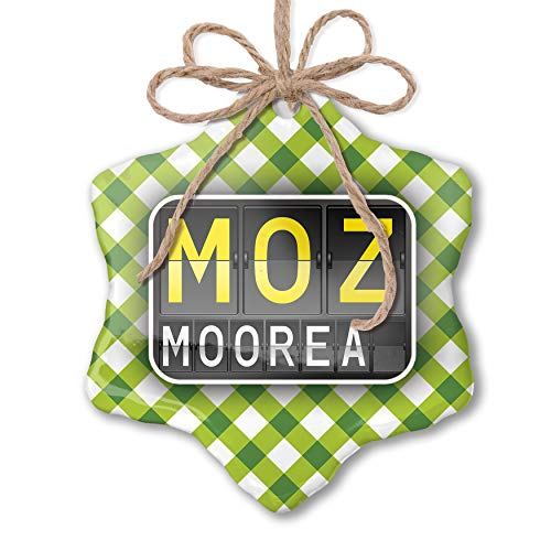 NEONBLOND Christmas Ornament Moz Airport Code for Moorea Green Plaid