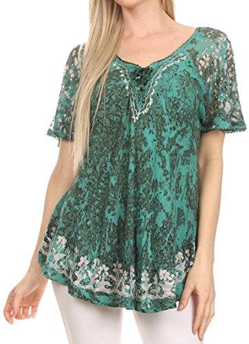 Sakkas 16482 - Ash Women's Short Sleeve Casual Tops Tie Dye Shirts Loose Blouse Shirts - Green - OS