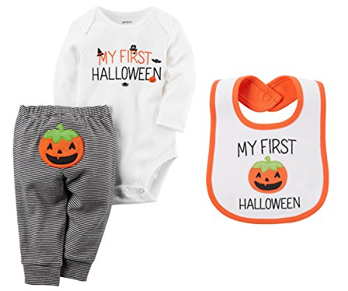 Carters Unisex Babys My First Halloween Long Sleeve Bodysuit Pants Bib Set (12 Months) ()