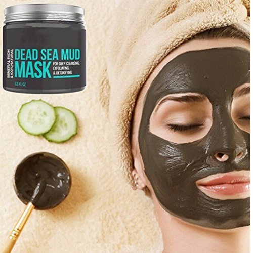 Dead Sea Mud Mask for Face & Body - 100% Natural Spa Quality - Best Pore Reducer & Minimizer to Help Treat Acne , Blackheads & Oily Skin – Tightens ()