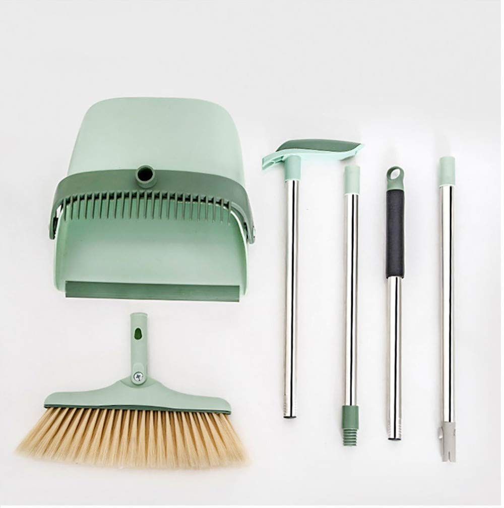 Houozon Windproof Comb Type Broom,Long Stainless Steel Handle Stand Upright Dustpan with Broom, for Home Bathroom,Removable Assembly not take up Space. by Houozon